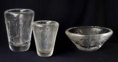 ** Vicke Lindstrand glass vases, Kosta, Sweden 1950's.