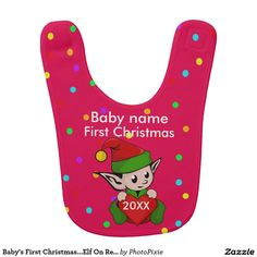 Baby's First Christmas...Elf On Red Background Baby's Bib