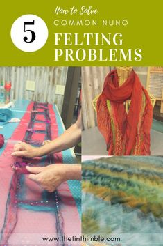 How to Solve 5 Common Nuno Felting Problems - The Tin Thimble Troubleshooting Felting Help Needle Felted Animals, Felt Animals, Nuno Felt Scarf, Felted Scarf, Felted Wool, Easy Felt Crafts, Cork Crafts, Easter Crafts, Diy Crafts