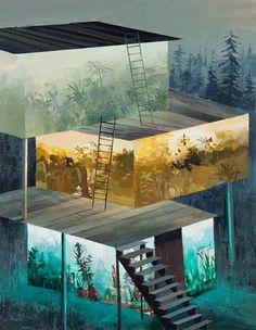 Split-Level Landscape Paintings by Jeremy Miranda.  (via http://jaredleto.com/thisiswhoireallyam/2013/04/12/painted-split-level-landscapes-by-jeremy-miranda/