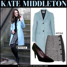 Kate Middleton in light blue wool coat and boucle button mini skirt winter fashion Blue Skirt Outfits, Light Blue Coat, Kate Middleton Style, Winter Skirt, Blue Coats, Royal Fashion, Winter Outfits, Blue Wool, Wool Coat
