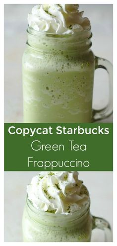 Starbucks Copycat Green Tea Frappuccino A quick and easy green tea frappuccino recipe that tastes just like the popular starbucks drink! All you need is 4 simple ingredients to make this recipe! Green Tea Frappucino Recipe, Matcha Frappe Recipe, Smoothie Bowl, Smoothies, Matcha Smoothie, Starbucks Recipes, Coffee Recipes, Starbucks Drinks, Macarons