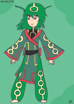 Rayquaza gijinka (c) Game freak Art by Julie july