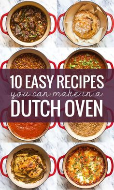 Dutch Oven Recipes   Stay warm this winter with 10 easy recipes from Pinch of Yum you can make in a Lodge Enamel Dutch Oven. AD Lodge Cast Iron is a family-owned company in the USA, and their cookware can be used everywhere — from the stovetop and oven to