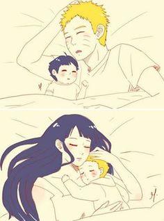Boruto sleeping with his parents.
