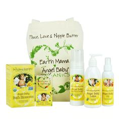 Win Earth Mama Angel Baby Essentials Bundle to safely soothe your baby, top to bottom, cheeks to cheeks!
