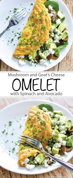Mushroom and Goat's Cheese Omelet with Spinach and Avocado is the perfect protein-packed, gluten-free, dairy-free breakfast! THIS LOOKS SO YUM. Healthy Breakfast Recipes, Brunch Recipes, Healthy Snacks, Vegetarian Recipes, Healthy Eating, Cooking Recipes, Healthy Recipes, Avocado Breakfast, Healthy Omelette