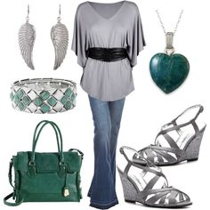 gray and teal, created by danyellefl01 on Polyvore