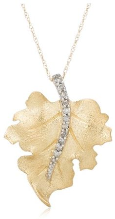 10k Yellow Gold Diamond Leaf Pendant (1/10 cttw,