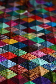 Ravelry's MisplacedPom's Mitered Sock Yarn Blankie (ShellyKang's pattern)