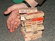Jenga-style blocks to each person. Invite them to write words or symbols on the block describing … (eg. gifts and talents) that they offer to the youth group/church/ministry. As a unique way of giving an offering during worship, have people bring their bl Church Ministry, Youth Ministry, Ministry Ideas, Prayer Ministry, Children Ministry, Youth Group Activities, Teen Activities, Youth Games, Therapy Activities