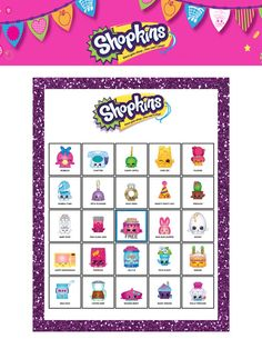 Shopkins Themed Party Bingo Cards 20 by ChamDigitalTreasures