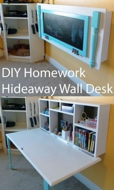 DIY Organizing Ideas For Kids Rooms   DIY Kids Homework Hideaway Wall Desk    Easy Storage