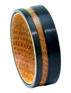 Tungsten Rings for Men Whiskey Barrel Wood Black Brushed Finish Band Wood Inlay Rings, Wood Rings, Tungsten Carbide Wedding Bands, Tungsten Carbide Rings, Rings Cool, Unique Rings, Affordable Rings, Unique Wedding Bands, Wedding Rings