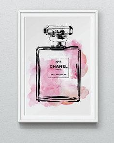 24x36 inches Large Chanel No5 water color digital art in pink, Fashion illustration, Gift, Wall Art, Home Decor, Coco Chanel