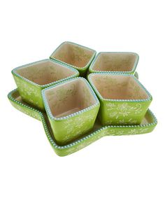 Love this Lime Floral Lace Divided Star Tray & Ramekin Set on #zulily! #zulilyfinds