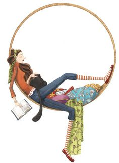 © Mónica Carretero (Author/Illustrator, Spain).  Woman with books & cat. Life is good :-)