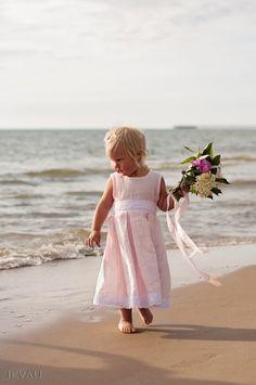 Beach wedding flower girl outfit idea.