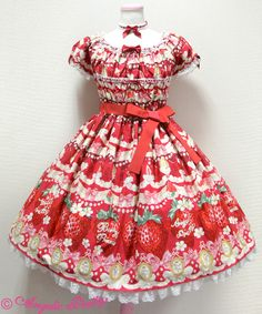 Angelic Pretty: 2015 Melty Berry Princess one piece in red
