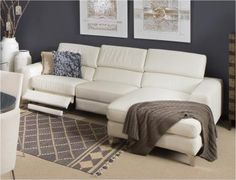 Berlin Chaise Leather Lounge with Electronic Recliner : leather lounge with chaise - Sectionals, Sofas & Couches