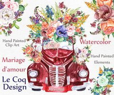 Watercolor wedding clipart: WATERCOLOR FLOWERS Floral Bouquets clipart Rustic wedding Floral car Diy invites Vintage Wedding invite You will receive: - 3 bouquets saved in PNG High resolution 300 dpi size 10x 10 - 1 floral arrangement saved in PNG High resolution 300 dpi size 14x 14 -1