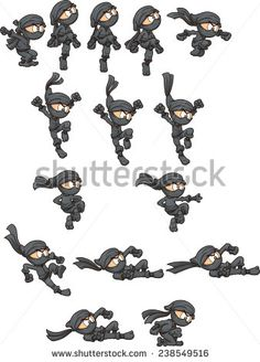 Cartoon ninja ready for animation. Jumping,falling, throwing and sliding actions. Vector clip art illustration with simple gradients. Each on a separate layer.  - stock vector