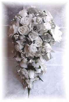 silver silk rose bouquets   8pc Silk Wedding Bouquet SILVER WHITE Bridal Roses Flowers Everything you need for the wedding I have a list