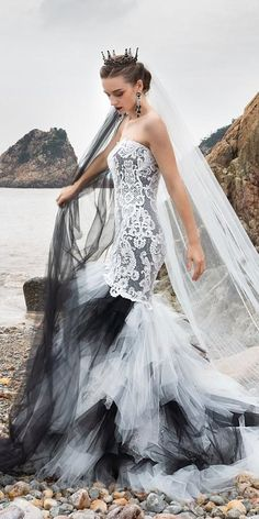 33 Beautiful Black Wedding Dresses That Will Strike Your Fancy ❤ black wedding dresses mermaid sweetheart strapless neckline with white tulle skirt cocomelody ❤ #weddingdresses #weddingoutfit #bridaloutfit #weddinggown #women's style