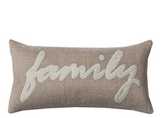 """Let everyone know what's nearest and dearest to your heart with this adorable throw pillow, which features the word """"family"""" in attractive script across the front. This jute and felt accent pillow provides a comfortable, casual feel that's perfect for adorning any couch, chair or bed."""