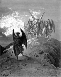 Satan is cast out the hill of Heaven and is cast in Hell's canyons (Illustration for John Milton's Paradise Lost) 1866