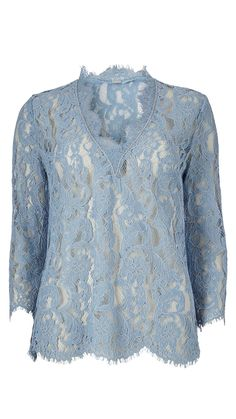 Feminin blå blondebluse fra Gustav | Shop Serafine.dk