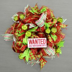 Wooden Christmas Sign: Wanted Jolly Men (5.75 x 3)