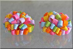 Cotton Candy Loopy Pom Pom Hair Bow Easter Hair Bow by GirlyKurlz, $8.50