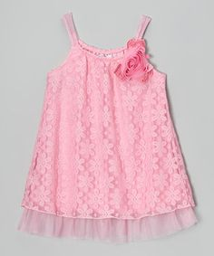 Paris Pink Daisy Lace & Chiffon Tank - Girls by Beautees #zulily #zulilyfinds