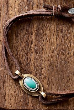 La Mesa Leather Bracelet with Turquoise #JamesAvery