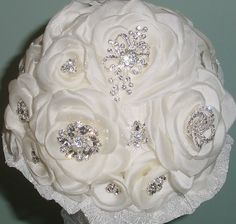 Wedding Bouquet w Hand Pressed Organza Flowers Lace and Vintage Leaves Ivory Rhinestone Brooches