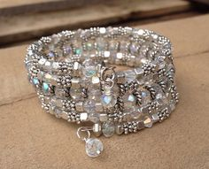 Bridal Sparkler Multi Strand Wrap Bracelet With AB Crystals