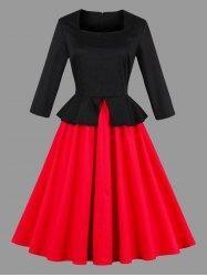 AdoreWe - Gamiss Color Block Peplum Pin Up Dress - AdoreWe.com
