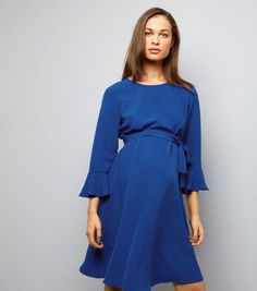 Maternity Blue Belted Bell Sleeve Skater Dress | New Look