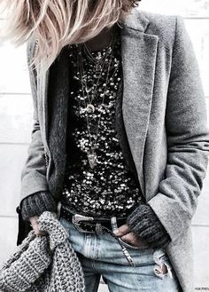 street style obsession / coat + glitter top + hat + rips