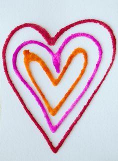 Raised Salt Painting Valentines