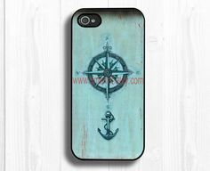iphone 5 case--anchor compass iPhone 5 case, iphone 5 hard case,iphone case. $11.99, via Etsy.