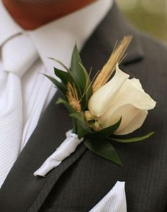 WeddingChannel Galleries: Rose and Wheat Boutonniere. But with a yellow rose instead