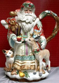 Santa and woodland friends tea pot.