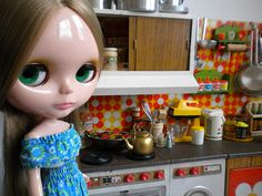 Vintage Toy Kitchen orange tiles with Blythe. Brand: Joustra by Naralna, via Flickr