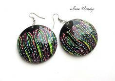 Polymer clay Stroppel cane earrings by Anna Potsar