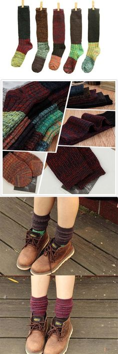 Leg Warmers 163587: Santwo Color Block Warm Wool Blend Knited Lace Trim Hold Up Boot Crew Socks... -> BUY IT NOW ONLY: $33.32 on eBay!