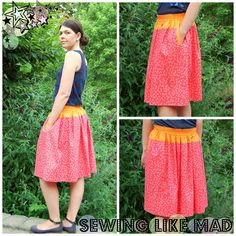 Sewing Like Mad: SONP 2013 - Elastic waist skirt with in-seam single welt pockets - TUTORIAL.
