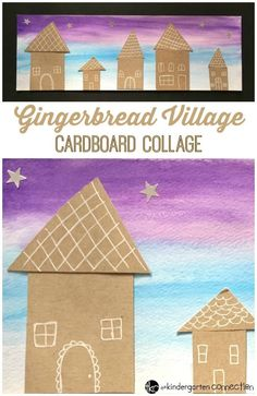 This gingerbread village cardboard collage gingerbread craft is a fun and festive way to welcome the holiday season in your home or classroom! Kindergarten Freebies, Kindergarten Activities, Art Activities, Kindergarten Christmas, Preschool Worksheets, Kindergarten Classroom, Art Classroom, Gingerbread Crafts, Gingerbread Village