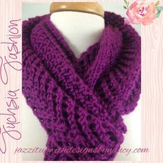 #ButterflysPin Dark Fuchsia Hand knit Scarf Extra Long in lace Arrowhead Pattern Caron Simply Soft yarn